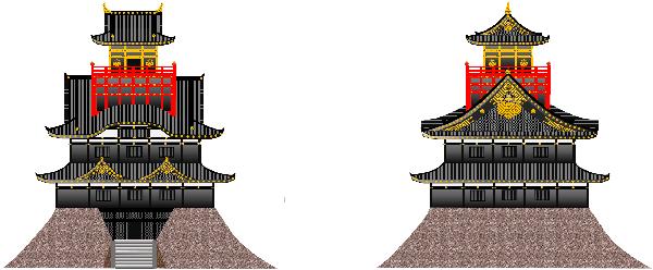 秀吉駿府城天守閣想像図正面側面透過600