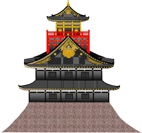 秀吉駿府城天守閣想像図側面透過500